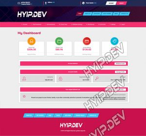 goldcoders hyip template no. 161, account page screenshot