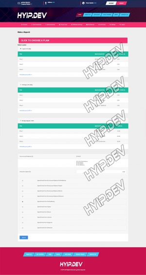 goldcoders hyip template no. 161, deposit page screenshot