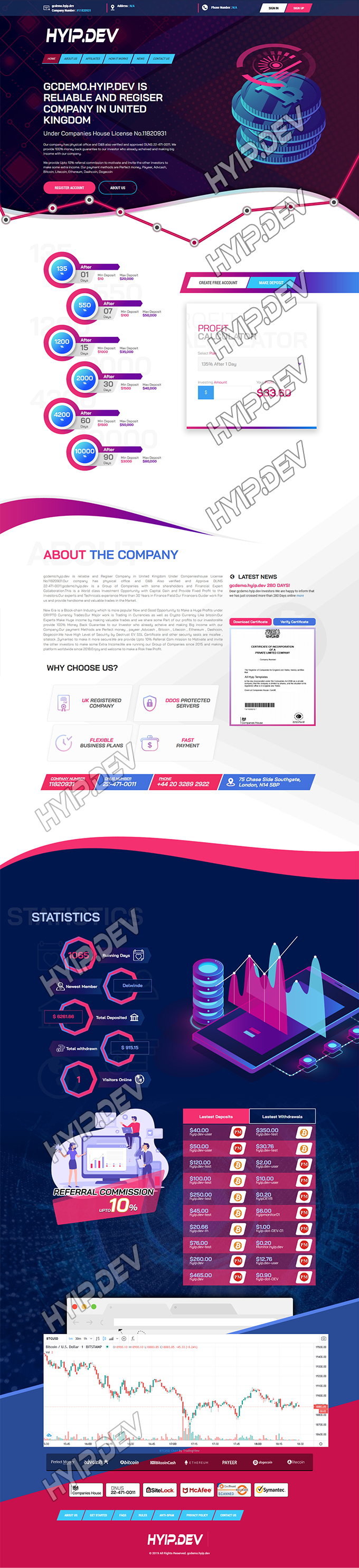 goldcoders hyip template no. 161, home page screenshot