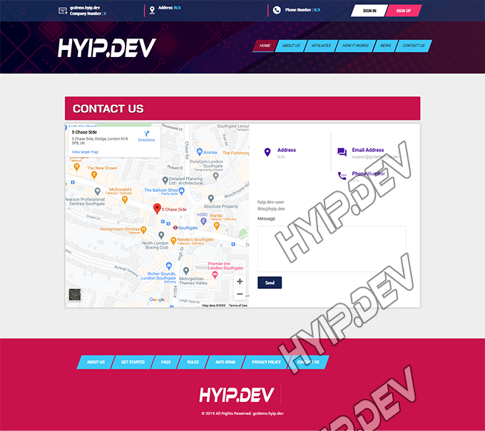 goldcoders hyip template no. 161, support page screenshot