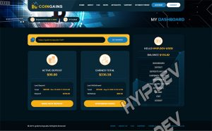 goldcoders hyip template no. 163, account page screenshot