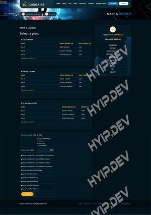 goldcoders hyip template no. 163, deposit page screenshot