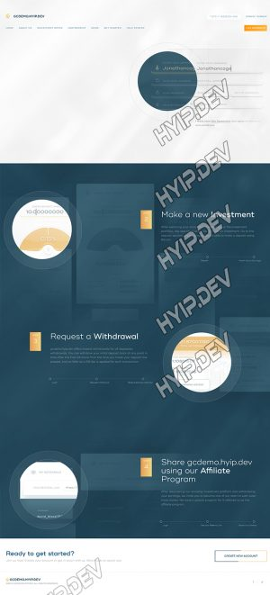 goldcoders hyip template no. 164, about page screenshot