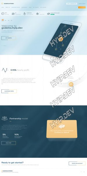 goldcoders hyip template no. 164, home page screenshot