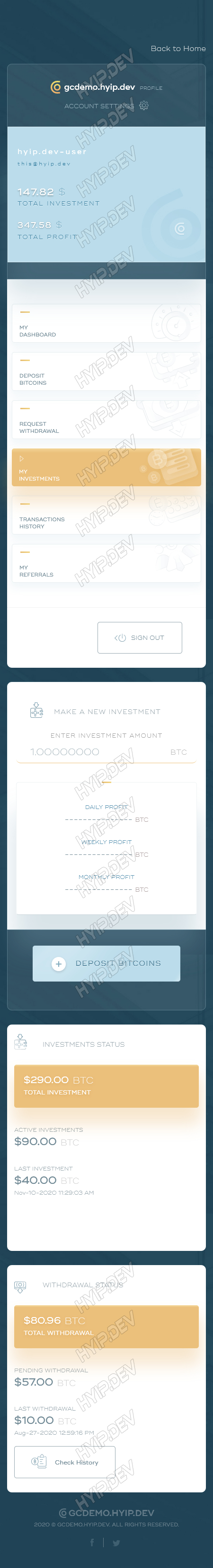 goldcoders hyip template no. 164, mobile page screenshot