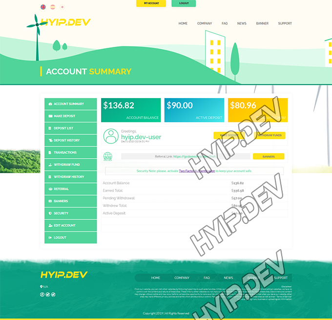 goldcoders hyip template no. 165, account page screenshot