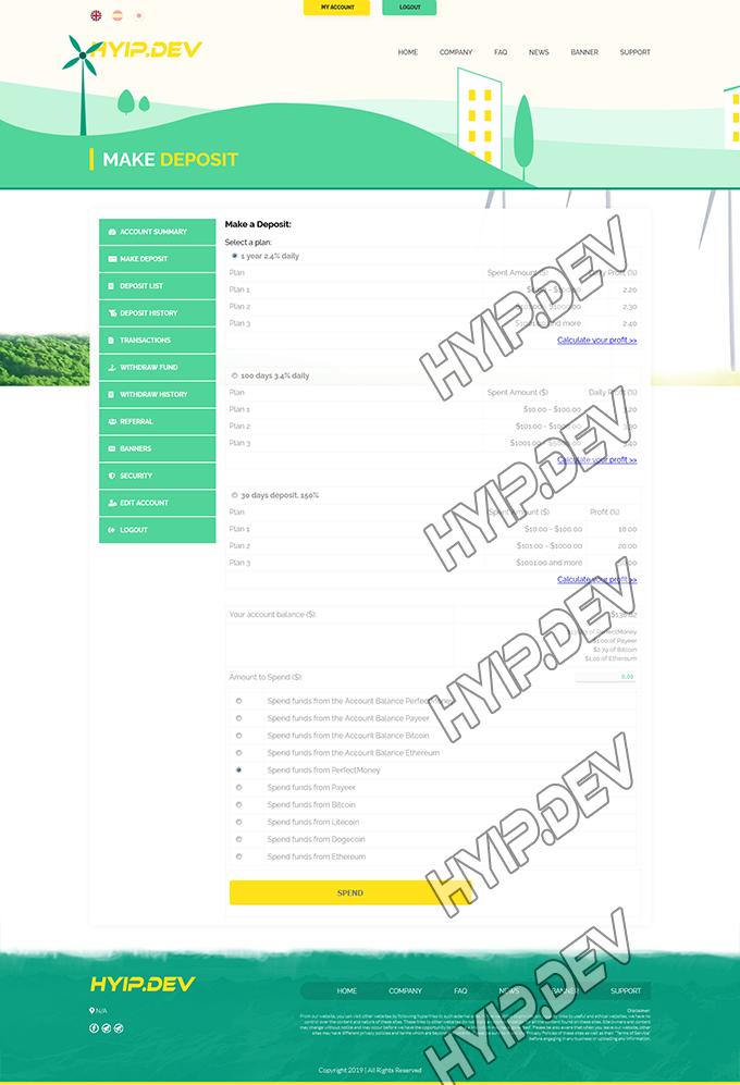 goldcoders hyip template no. 165, deposit page screenshot