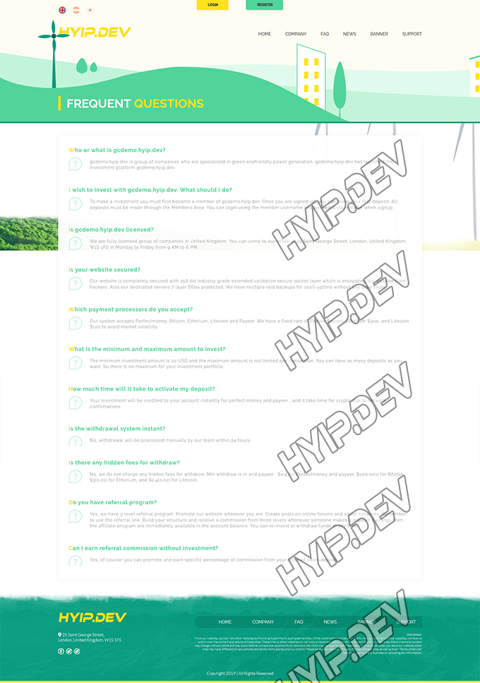 goldcoders hyip template no. 165, default page screenshot
