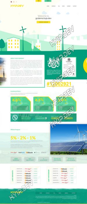 goldcoders hyip template no. 165, home page screenshot