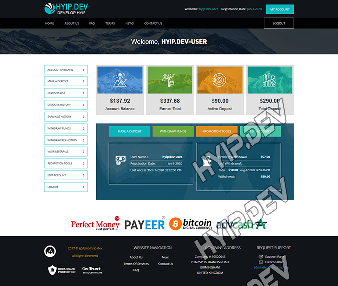 goldcoders hyip template no. 167, account page screenshot
