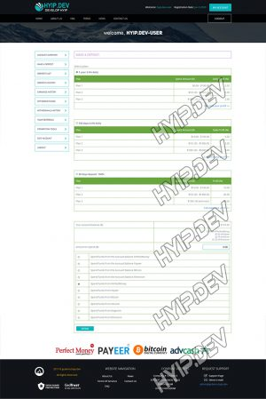 goldcoders hyip template no. 167, deposit page screenshot