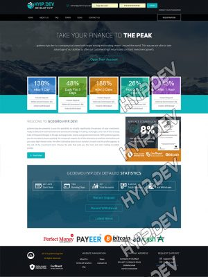 goldcoders hyip template no. 167, home page screenshot
