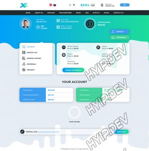 goldcoders hyip template no. 169, account page screenshot