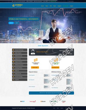 goldcoders hyip template no. 171, account page screenshot