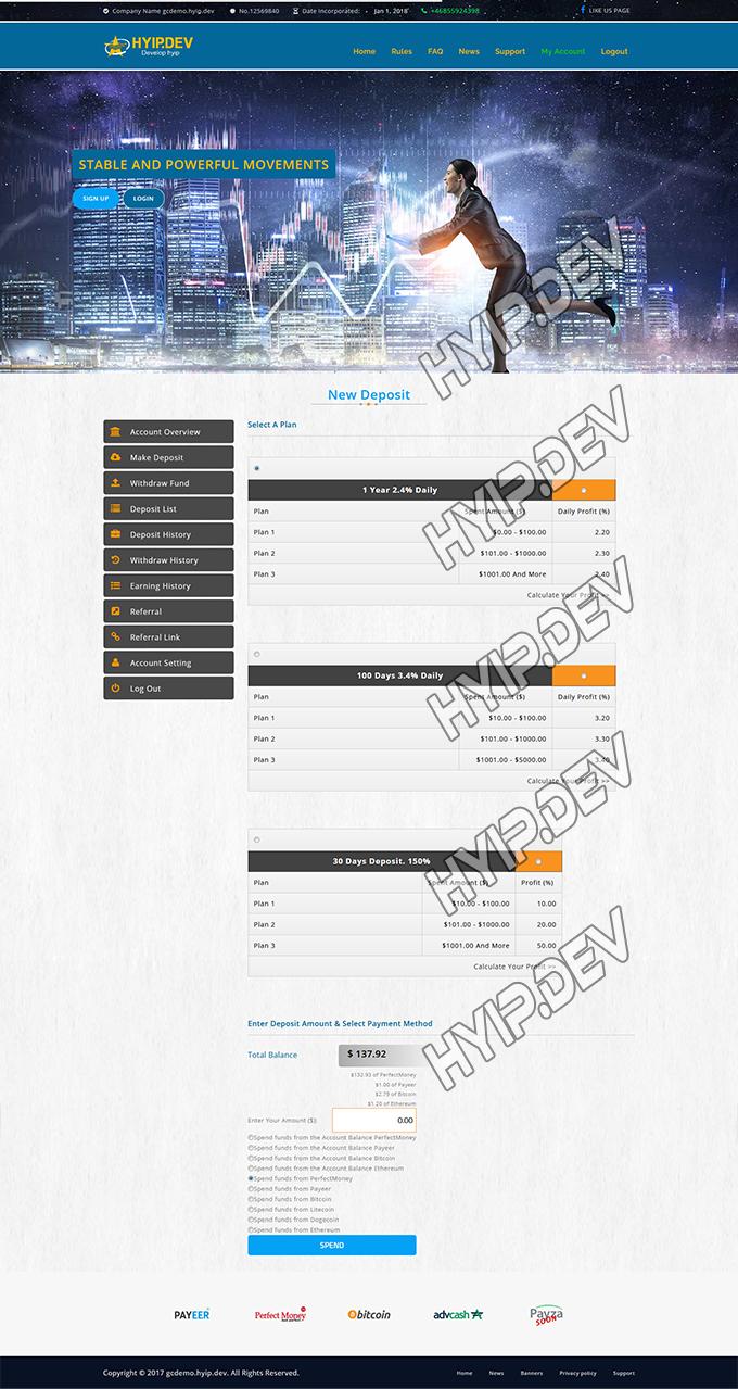 goldcoders hyip template no. 171, deposit page screenshot