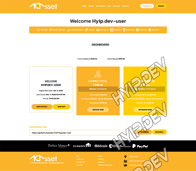 goldcoders hyip template no. 174, account page screenshot