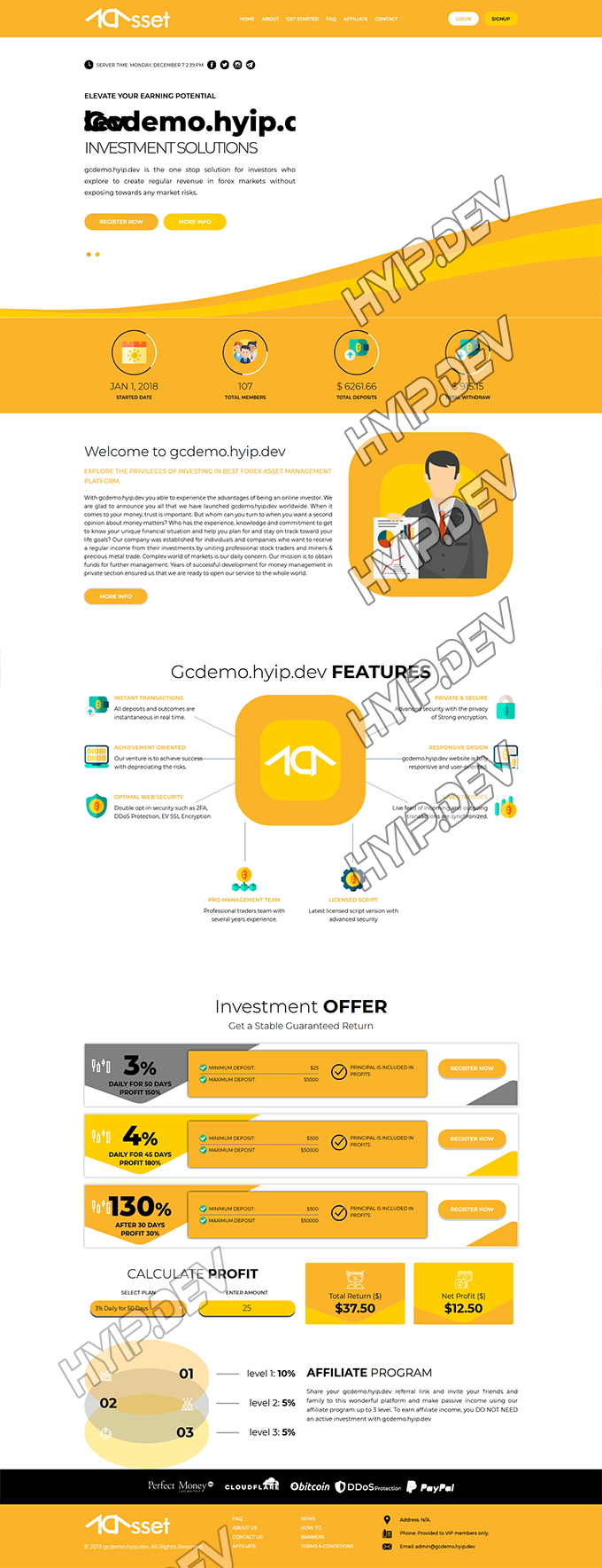 goldcoders hyip template no. 174, home page screenshot