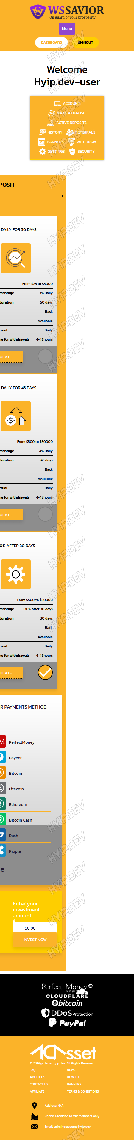 goldcoders hyip template no. 174, mobile page screenshot