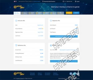 goldcoders hyip template no. 177, account page screenshot