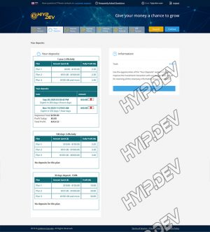goldcoders hyip template no. 177, deposit page screenshot