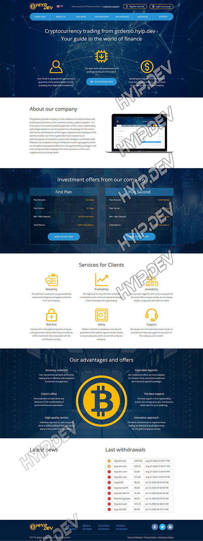 goldcoders hyip template no. 177, home page screenshot
