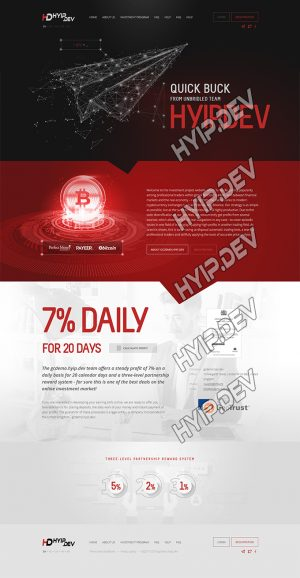 goldcoders hyip template no. 178, home page screenshot