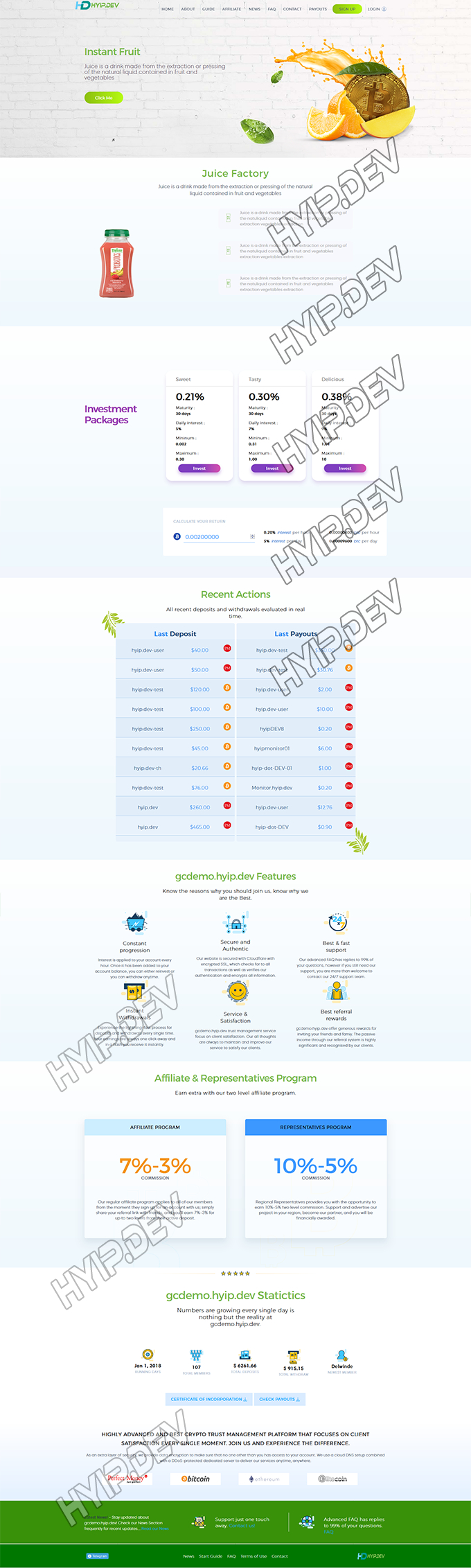goldcoders hyip template no. 179, home page screenshot