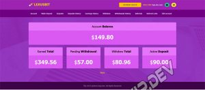 goldcoders hyip template no. 180, account page screenshot