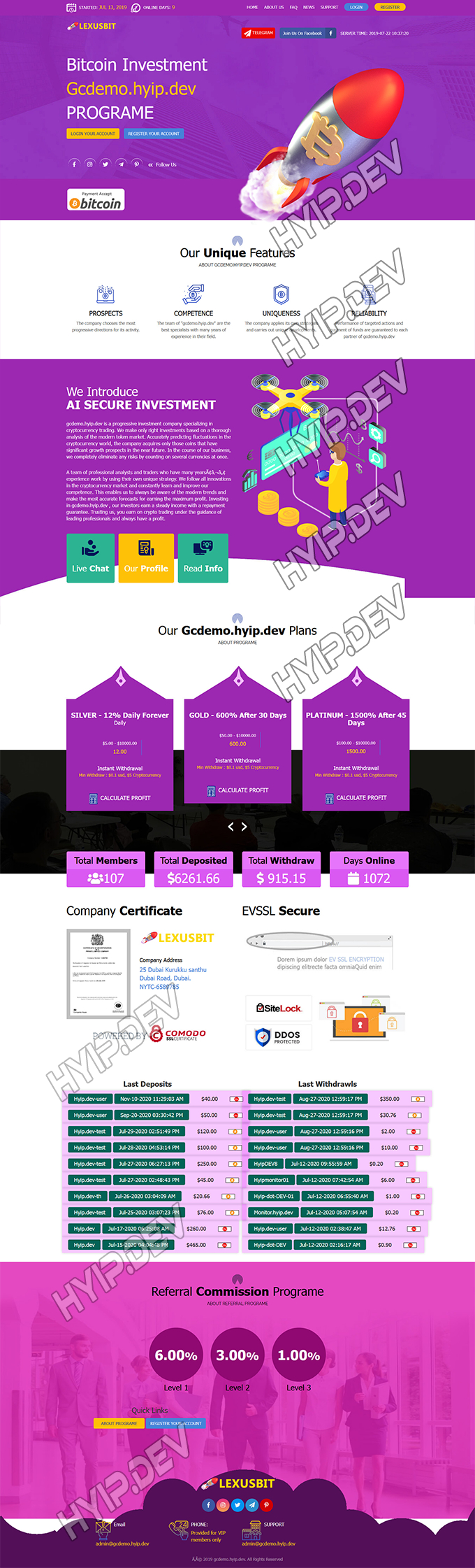 goldcoders hyip template no. 180, home page screenshot