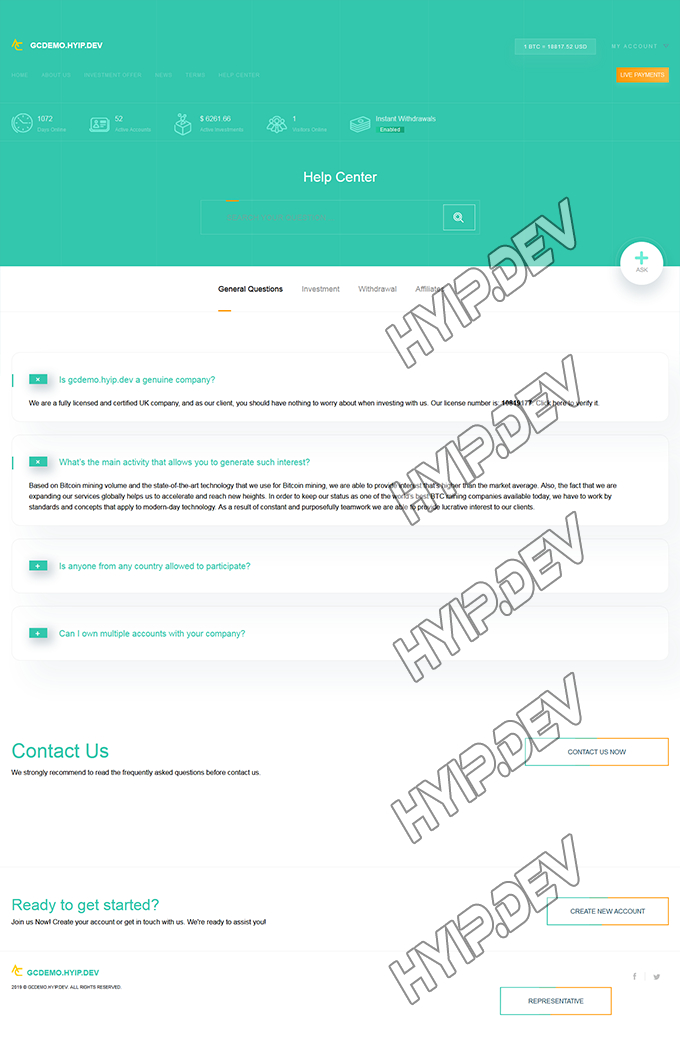 goldcoders hyip template no. 181, default page screenshot