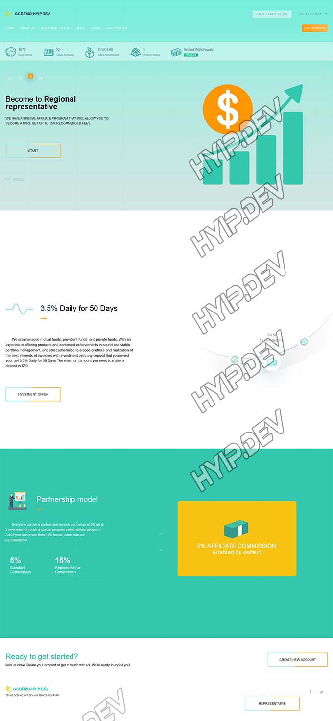goldcoders hyip template no. 181, home page screenshot