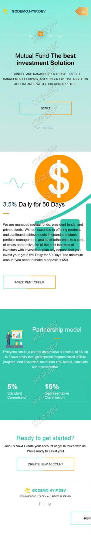 goldcoders hyip template no. 181, mobile page screenshot