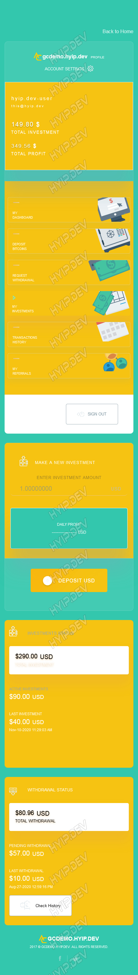 goldcoders hyip template no. 181, responsive page screenshot