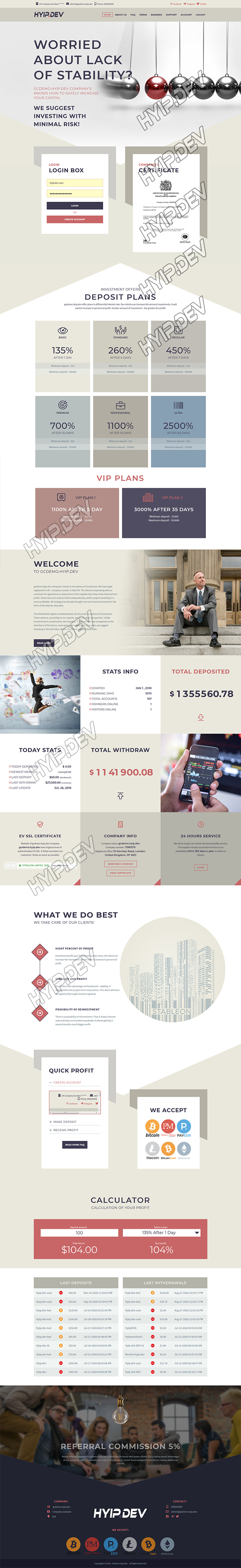 goldcoders hyip template no. 183, home page screenshot