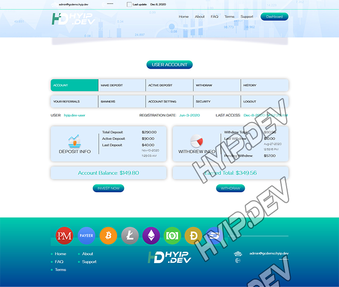 goldcoders hyip template no. 184, account page screenshot