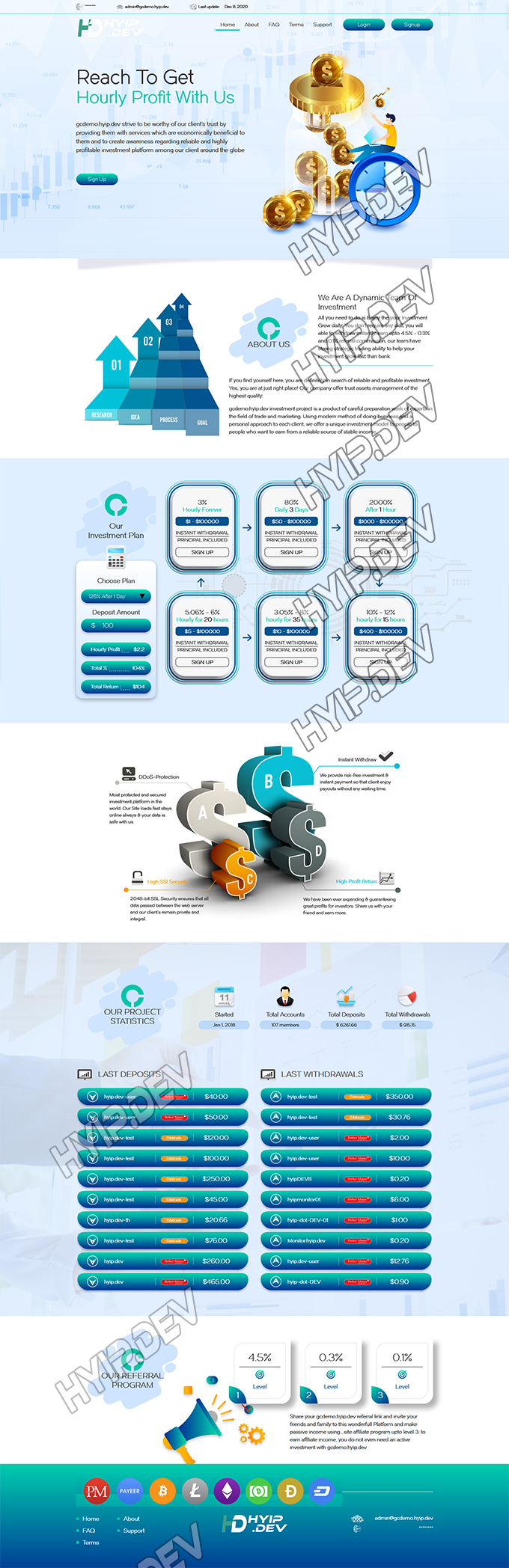 goldcoders hyip template no. 184, home page screenshot