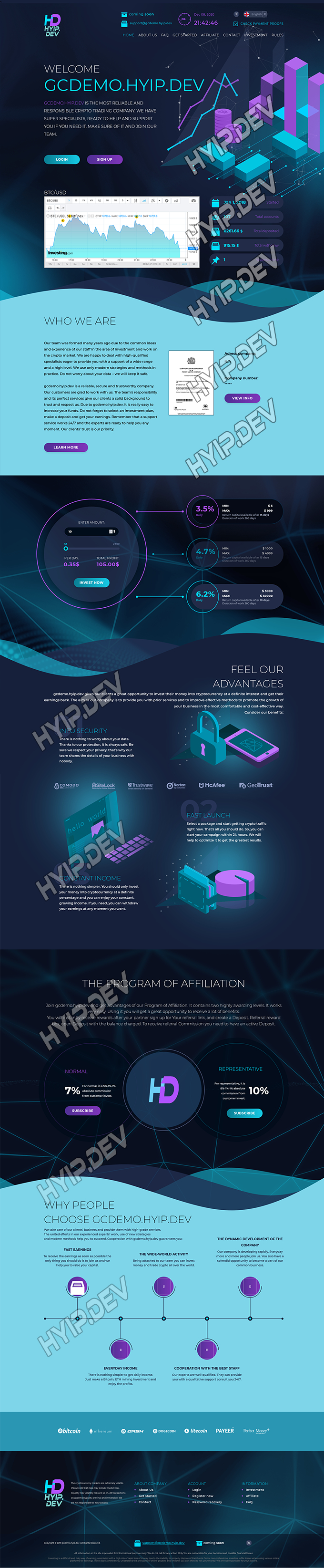goldcoders hyip template no. 185, home page screenshot