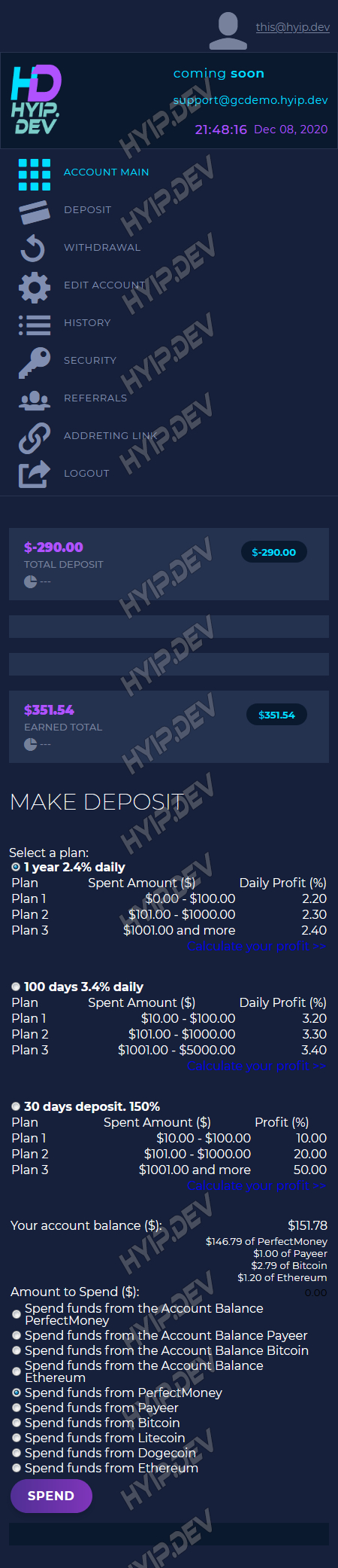 goldcoders hyip template no. 185, mobile page screenshot