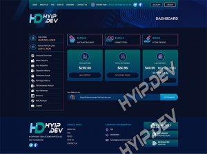 goldcoders hyip template no. 186, account page screenshot