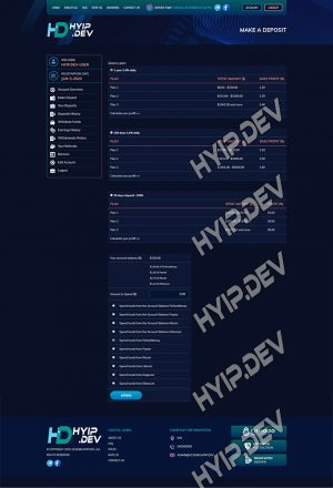 goldcoders hyip template no. 186, deposit page screenshot