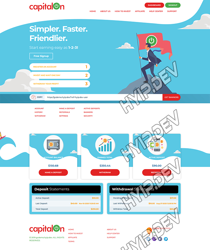 goldcoders hyip template no. 187, account page screenshot