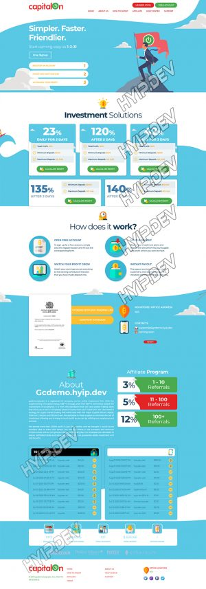 goldcoders hyip template no. 187, home page screenshot